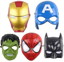 Wholesale Avengers mask superhero masks Spiderman Hulk Captain America Batman Iron Man mask Theater halloween costumes Prop Novelty toy Kids Favorite