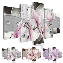 art combinations Australia - 2019 Unframed 5 Panel Framless Diamond Flower Canvas Prints Painting Picture Ginkgo Biloba Flowers Picture Art Home Wall Decor