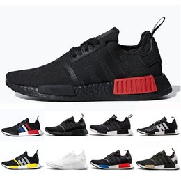 ebe1e88b5190a 2019 NMD R1 atmos Thunder Bred Running shoes OREO Runner Primeknit OG atmos Japan  Triple black Nmds Men Women beige Runner Sports sneakers