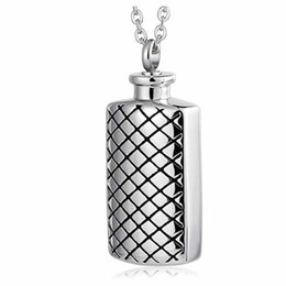 stainless steel square link chain UK - Silver Square Memorial Necklace Stainless Steel Ashes Pendant Cremation Ashes Keepsake with Free Engraving