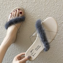 Trend Sandals Australia - Brand Summer Womens Trend Faux Fur Jelly Shoes Letters Transparent Sandals Girls Beach Open Toed Flip Flop Designer Casual Flat in2019