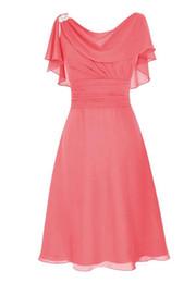 Опт Элегантный мать невесты Платья с коротким рукавом оборками складки длиной до колен формальные платья выпускного вечера мать жениха платье платья