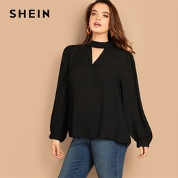 2c5ea7091f40b0 SHEIN Plus Size Keyhole Mock-neck Long Lantern Sleeve Stand Collar Cut Out  Women Blouse 2019 Spring Casual Solid Top Blouses Y190422