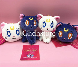 "make keychains Canada - Top New 2 Styles 4"" 10CM Sailor Moon Cat Luna Plush Doll Anime Collectible Stuffed Keychains Pendants Party Gifts Soft Toys"