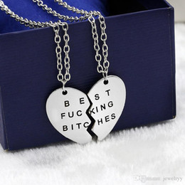 bitch gifts Australia - Broken Heart Best Bitch pendant necklaces vintage love heart best friends charm chain necklace statement jewelry for lovers friends gift