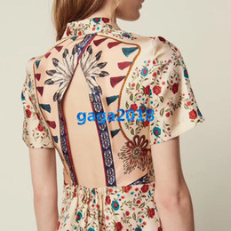 Sexy Girl Print Shirt Australia - women girls silk shirt dress floral printed lapel neck short sleeve sexy backless a-line midi skirt high end custom fashion runway dresses