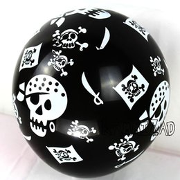 pirates pearl NZ - New 100Pcs  Lot 12Inch Pirate Latex Balloons Halloween Black Skull Helium Globos Pirates Theme Birthday Party Supplies Kids Toys