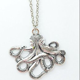 Pirate Pendants Australia - Fashion Zinc Alloy Octopus Necklace Steampunk Nautical Squid Kraken Pirate Charm Pendant Antique Silver Jewelry FFor Men Woman Gift