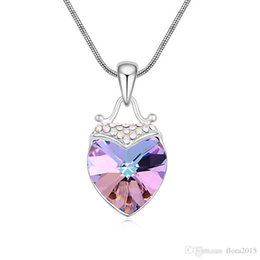 jewellery making necklace NZ - XILION heart pendant necklace made with Swarovski elements crystal fashion brands design bijoux best Valentine's Day jewellery gift 7 colors