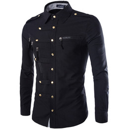 dress epaulets Australia - New Arrival Spring Autumn Men Long Sleeve Cargo Shirt Casual Slim Fit Fashion Epaulet Double Pocket Mens Dress Shirt