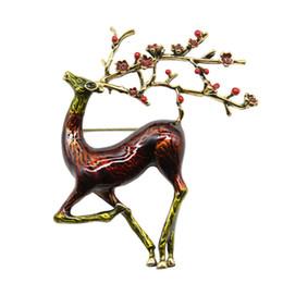 Charming suits online shopping - Christmas Jewelry Gift Elk Deer Charms Brooch Enamel Reindeer Deer Brooch Cute Beautiful Animal Pins Suits Jewelry Pins