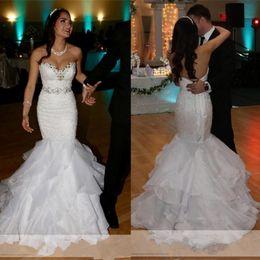 $enCountryForm.capitalKeyWord Australia - Stylish Sweetheart Mermaid Wedding Dresses Lace Appliques Bead Sequin Tiered Bottom Bridal Dress Detachable Crystal Sash Wedding Gowns