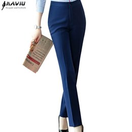 women trousers navy UK - Fashion formal Business Women trousers plus size spring new office ladies solid color Slim Mid waist pants Navy blue Black
