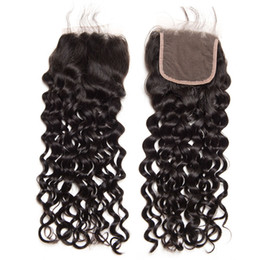 $enCountryForm.capitalKeyWord Australia - free middle three part water wave lace closure with baby hair natural color brazilian curly hair lace closure 4x4 human hair closure