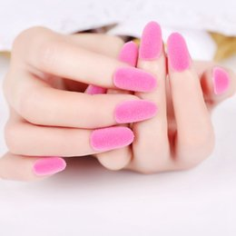 $enCountryForm.capitalKeyWord Australia - Sexy Matte Pink Acrylic Fake Nails Fluffy Velvet Flocking Decoration False Nail 24pcs Kit Z414