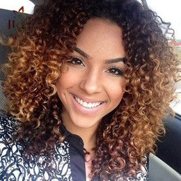 $enCountryForm.capitalKeyWord Australia - Short Afro Kinky Curly lace front Wigs For Black Women no ombre Brown Natural Afro Curly Wigs With Bangs 130%density cheap for sale