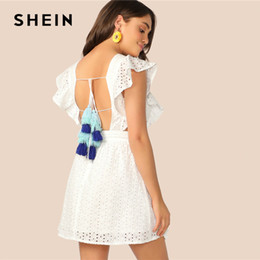 81dce67ba7e SHEIN Boho White Tassel Tie Back Cut Out Side Schiffy Ruffle Summer Dress  Women Sleeveless Solid Fit and Flare Mini Dresses