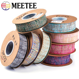 Wholesale Boxes Packaging Australia - Meetee 25 40mm Polyester Color Ribbon Clothing Lace Webbing Trim DIY Bow Hair Accessories Gift Box Packaging Materials
