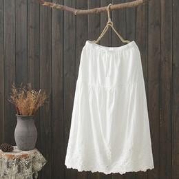 8f4348eb28 KYQIAO faldas mujer moda 2019 LONG SKIRT MORI GIRLS Japanese style ethnic  boho long white black embroidery solid cotton skirt