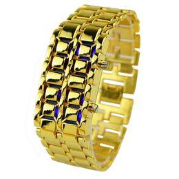 59bbd71e558e 2017 Nuevos Hombres de La Moda de Oro Lava Hierro Samurai Metal LED Sin  Cara Reloj de Pulsera Reloj Relojes Deportivos Relojes Envío de la gota