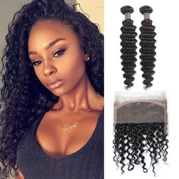 brazilian virgin curly hair weave closure Australia - 8A Brazilian Deep Wave 360 lace frontal with 2bundles Brazilian Peruvian Human Hair Bundles with Closure Deep Curly Virgin Hair