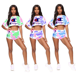 $enCountryForm.capitalKeyWord NZ - Tie-dye Color Women Champion Designer Shorts Tracksuits Luxury Summer Brand Outfit Crop Top T-shirt + Shorts 2 Piece Sets Jogger Suit A6502