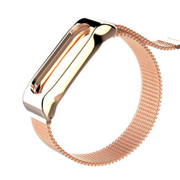 Discount buckle strap for watches - Wristband For Xiaomi Mi Band 2 Watch Band Magnetic Buckle Rose Gold Metal Stainless Steel Watch Strap