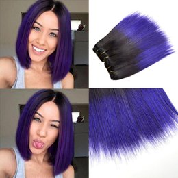 bobs weaves Australia - 4Pcs Ombre Purple Peruvian Body Wave Two Tone T1B Purple afro kinky curly bob wave loose wave Human Hair Weaving Straight Hair Weft