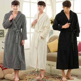 long warm robes Australia - Lovers Winter Long Thick Warm Bathrobe Men Thermal Coral Fleece Kimono Bath Robe Male Classic Dressing Gown Mens Flannel Robes
