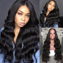glueless lace wigs for black women NZ - Free shipping Brazilian Hair Glueless Front Lace Wigs Brazilian water Wave Human Hair Full Lace Wig for black women with baby hair