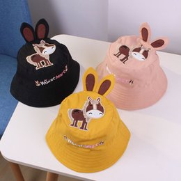 Girls Boys Child Hat Bucket Hat Kids Outdoor Fisherman Cap Cartoon  Embroidery Ear Cap Cotton 2019 Spring Sun Protective Beach Cap MZ7523 107c8788d206