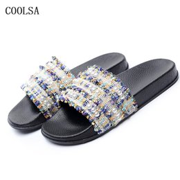 f15150ff4045 Summer Women Pearl Slippers Lace Flip Flops Bead Sexy Shoe Casual Designer  Slides Soft Comfort Flat Home Slippers Beach Sandals