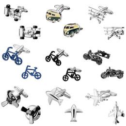 Bicycling Gear Australia - Bicycle motorcycle transportation Anchor the locomotive wheel gear plane cufflinks 18 design men's shirts cufflinks