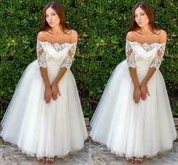 $enCountryForm.capitalKeyWord Australia - Romantic Tea Length Wedding Dresses With Sleeves Off Shoulder Lace Tulle Draped Wedding Dress Bridal Gowns Country Party Dress For Bride