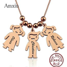 Custom Plastic Figures Australia - Amxiu Custom 925 Sterling Silver Pendant Necklace Engrave 1-3 Names Figure Jewelry For Women Mother's Gift Children Kids Id Tags J190616