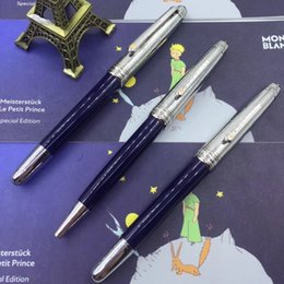 Fine art pens online shopping - Luxury Special Edition Little Prince Series MB Roller Ball Pen Cute Blue Barrel With Fine Carving Office School Supply Brand Gift Pens