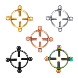 Wholesale PAIR Steel Round Non-Piercing Nipple Shield Rings Mixed Colors Fake Nipple Piercings Adjustable Ring Jewelry Sexy Women