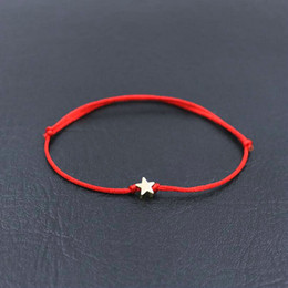 Diy Bracelets Thread Australia - BPPCCR Handmade Stainless Steel Five-pointed Star Charm Bracelet Thin Red Rope Thread String Bracelets For Men Women DIY Jewelry