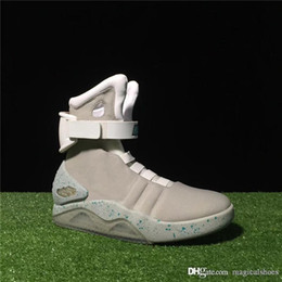 Dark Gray Boots Australia - Auto Laces Air Mag Marty McFlys Sneakers Glow In The Dark Mens Boots Shoes Lighting Footwear Mags Sneaker Gray Black Red With Box