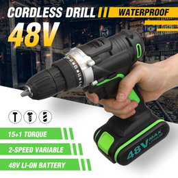 $enCountryForm.capitalKeyWord Australia - Rechargeable 48V Cordless Electric Drill Wrench Double Speed Adjustment LED lighting Carpenter Drilling Screwdriver Power Tools