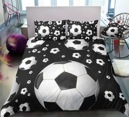 White Duvet Roses Australia - Thumbedding Dropship Hot Sale Black and White Football Bedding Sets Pure Style Twin Full Queen King 3D Duvet Cover Set with Pillowcase