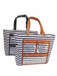 $enCountryForm.capitalKeyWord Australia - Canvas Striped PVC Display Bag Wholesale Blanks Carry All Essential Oil Purse Lipstick Tote with Clear Pockets LJJM1984