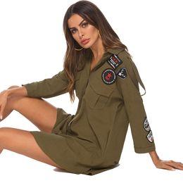 $enCountryForm.capitalKeyWord Australia - Shirt Dress Army Green Office Lady Unique Fashion Casual Party Daily Loose Women Dresses 8099