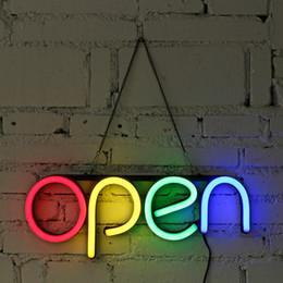 16 '' APERTO Insegna al neon a luce fatta a mano Visual Artwork Bar Club KTV Decorazione da parete Illuminazione commerciale Lampadine colorate a tubo al neon in Offerta