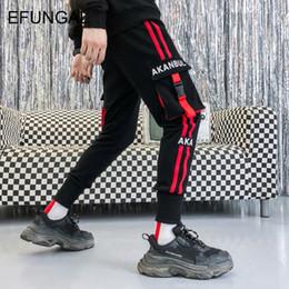 Rock Blocks Australia - EFUNGAL Color Block Fashion Jogger Men Casual Pants Spring Striped Pockets Hip Hop Streetwear Punk Rock Harem Sweatpants FD63