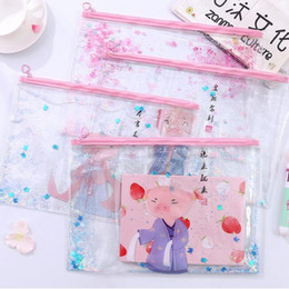 stationery files Canada - Kawaii Pink Pigs Cats Sakura Flowers Document Bags Oil Quicksand PVC File Folder Transparent Storage Bags Stationery Organizer Holders