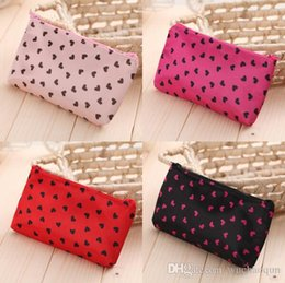 cosmetic bags hearts wholesale Australia - Love heart Dot portable bag Cosmetic Cases collapsible storage bag travel bags Girls Women Wallet Zipper Purses Storage Kids Gift BY0611