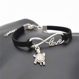Bracelets Lovely Charming Australia - Summer Chic 2019 Beach Lovely Animal Jewelry Small Tortoise Cute Silver Sea Turtle Charms Love Infinity Black Leather Suede Unique Bracelets
