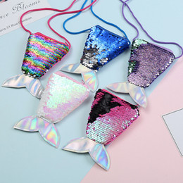 wholesale girls sequin shorts Canada - Kid Girl Colorful Change Sequin Mermaid Tail Bag Wallet Purse Coin Purses Pouch Note case Free Ship