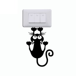 Modern Package Design UK - Cat Hanging On Light Switch Sticker Wall Decal Art Vinyl Cartoon Cat Stickers
